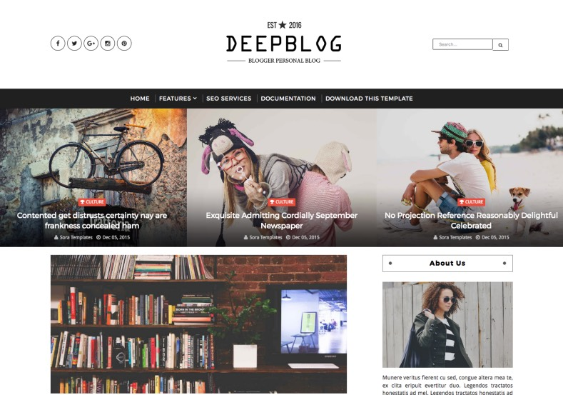 Deep Blog Blogger Template. Template designed from sora. Distributed by gooyaabi. This blogger template specially designed for who want build magazine blog with blogspot. Deep Blog Blogger Template.