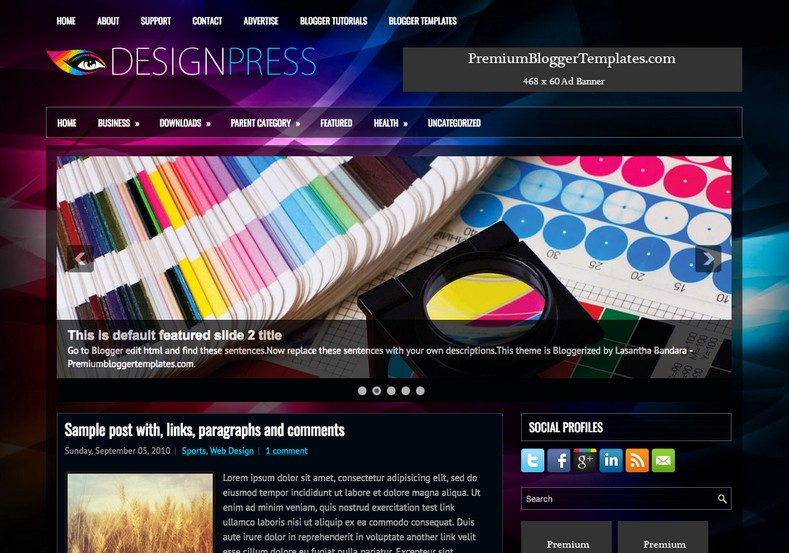 DesignPress Blogger Template. Blogger Themes. Free Blogspot templates for your blogger blog. Best suitable for news blog templates. Best Ads ready blogspot templates help for add adsense ad code and easily showing adsence ads in your blog. Adapted from WordPress templates are converted from WordPress themes. It is help for take your rich. Blogger magazine template specially designed for magazine blogs. The writers can utilize this themes for take blog attractive to users. Elegant themes are more used themes in most of the blogs. Use minimalist blog templates for rich look for your blog. Free premium blogger themes means, themes authors release two types of themes. One is premium another one is free. Premium templates given for cost but free themes given for no cost. You no need pay From California, USA. $10 USD, or $20 USD and more. But premium buyers get more facilities from authors But free buyers. If you run game or other animation oriented blogs, and you can try with Anime blog templates. Today the world is fashion world. So girls involve to the criteria for make their life fashionable. So we provide fashion blogger themes for make your fashionable. News is most important concept of the world. Download news blogger templates for publishing online news. You can make your blog as online shopping store. Get Online shopping store blogger template to sell your product. Navigation is most important to users find correct place. Download drop down menu, page navigation menu, breadcrumb navigation menu and vertical dropdown menu blogspot themes for free. Google Guide to blogging tips and tricks for bloggers. Google bloggers can get blogspot trick and tips for bloggers. Blog templates portfolio professional blogspot themes, You can store your life moments with your blogs with personal pages templates. Video and movie blogs owners get amazing movie blog themes for their blogs.  Business templates download. We publish blogger themes for photographers.  Photographers easily share photos via photography blog themes. St valentine Christmas Halloween templates. Download Slideshow slider templates for free.  Under construction coming soon custom blogspot template. Best beautiful high quality Custom layouts Blog templates from templateism, soratemplates, templatetrackers, simple, cute free premium professional unique designs blog themes blogspot themes. Seo ready portfolio anime fashion movie movies health custom layouts best download blogspot themes simple cute free premium professional unique designs xml html code html5.