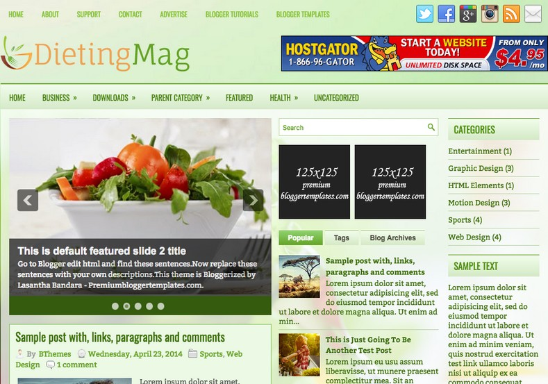 DietingMag Blogger Template. Blogger Themes. Best suitable for news blog templates. Ads ready blogspot templates help for add adsense ad code and easily showing adsence ads in your blog. Adapted from WordPress templates are converted from WordPress themes. It is help for take your rich. Blogger magazine template specially designed for magazine blogs. The writers can utilize this themes for take blog attractive to users. Elegant themes are more used themes in most of the blogs. Minimalist blog templates. Free premium blogger themes means, themes authors release two types of themes. One is premium another one is free. Premium templates given for cost but free themes given for no cost. You no need pay From California, USA. $10 USD, or $20 USD and more. But premium buyers get more facilities from authors But free buyers. If you run game or other animation oriented blogs, and you can try with Anime blog templates. Today the world is fashion world. So girls involve to the criteria for make their life fashionable. So we provide fashion blogger themes for make your fashionable. News is most important concept of the world. Download news blogger templates for publishing online news. You can make your blog as online shopping store. Get Online shopping store blogger template to sell your product. Navigation is most important to users find correct place. Download drop down menu, page navigation menu, breadcrumb navigation menu and vertical dropdown menu blogspot themes for free. Google Guide. Blogging tips and Tricks for bloggers. Google bloggers can get blogspot trick and tips for bloggers. Blog templates portfolio professional blogspot themes, You can store your life moments with your blogs with personal pages templates. Video and movie blogs owners get amazing movie blog themes for their blogs. Business templates download. We publish blogger themes for photographers. Photographers easily share photos via photography blog themes. St valentine Christmas Halloween templates. Download Slideshow slider templates for free. Under construction coming soon custom blogspot template. Best beautiful high quality Custom layouts Blog templates from templateism, SoraTemplates, templatetrackers, simple, cute free premium professional unique designs blog themes blogspot themes. Seo ready portfolio anime fashion movie movies health custom layouts best download blogspot themes simple cute free premium professional unique designs xml html code html5.