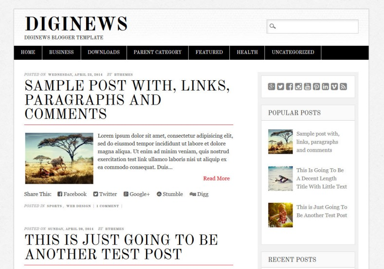 Diginews Blogger Template for news blogspot blogs