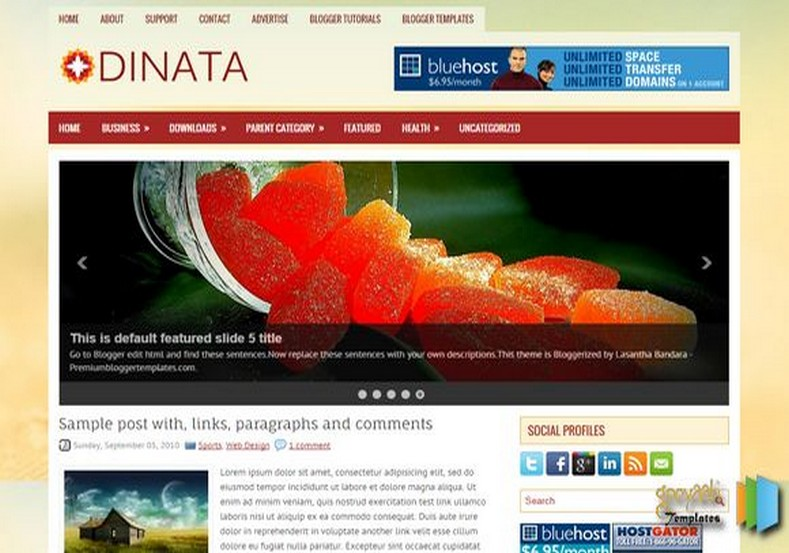 Dinata 2 Columns Blogger Template. Blogger Themes. Free Blogspot templates for your blogger blog. Best suitable for news blog templates. Best Ads ready blogspot templates help for add adsense ad code and easily showing adsence ads in your blog. Adapted from WordPress templates are converted from WordPress themes. It is help for take your rich. Blogger magazine template specially designed for magazine blogs. The writers can utilize this themes for take blog attractive to users. Elegant themes are more used themes in most of the blogs. Use minimalist blog templates for rich look for your blog. Free premium blogger themes means, themes authors release two types of themes. One is premium another one is free. Premium templates given for cost but free themes given for no cost. You no need pay From California, USA. $10 USD, or $20 USD and more. But premium buyers get more facilities from authors But free buyers. If you run game or other animation oriented blogs, and you can try with Anime blog templates. Today the world is fashion world. So girls involve to the criteria for make their life fashionable. So we provide fashion blogger themes for make your fashionable. News is most important concept of the world. Download news blogger templates for publishing online news. You can make your blog as online shopping store. Get Online shopping store blogger template to sell your product. Navigation is most important to users find correct place. Download drop down menu, page navigation menu, breadcrumb navigation menu and vertical dropdown menu blogspot themes for free. Google Guide to blogging tips and tricks for bloggers. Google bloggers can get blogspot trick and tips for bloggers. Blog templates portfolio professional blogspot themes, You can store your life moments with your blogs with personal pages templates. Video and movie blogs owners get amazing movie blog themes for their blogs. Business templates download. We publish blogger themes for photographers. Photographers easily share photos via photography blog themes. St valentine Christmas Halloween templates. Download Slideshow slider templates for free. Under construction coming soon custom blogspot template. Best beautiful high quality Custom layouts Blog templates from templateism, SoraTemplates, templatetrackers, simple, cute free premium professional unique designs blog themes blogspot themes. Seo ready portfolio anime fashion movie movies health custom layouts best download blogspot themes simple cute free premium professional unique designs xml html code html5.