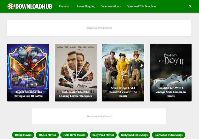 Download Hub Blogger Template is a very unique and one of a kind blogging blogger theme for creating movie downloading site on blogger.