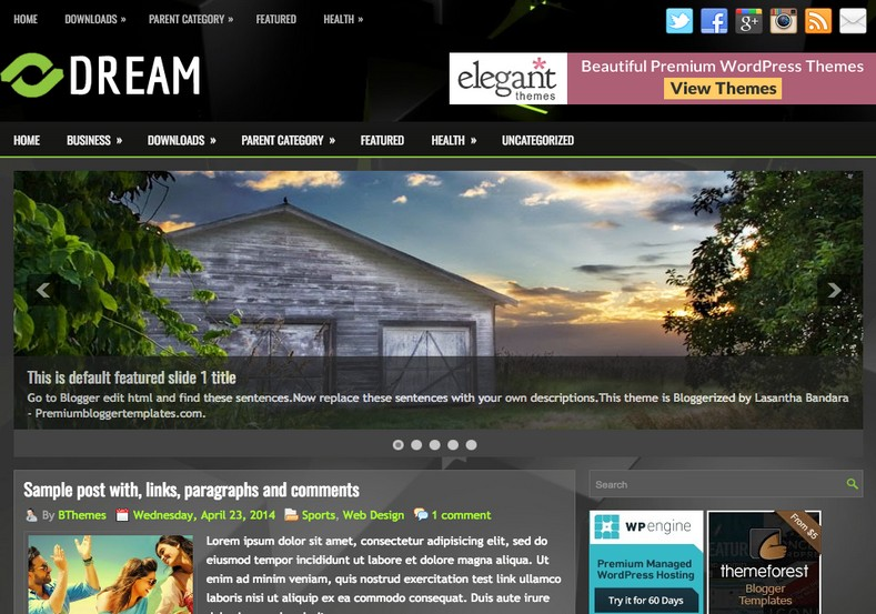Dream responsive blogger template free graphics free for Create your own wordpress theme from an html template