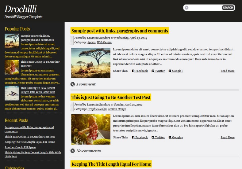 Drochilli Blogger Template. Blogger Themes. Best suitable for news blog templates. Ads ready blogspot templates help for add adsense ad code and easily showing adsence ads in your blog. Adapted from WordPress templates are converted from WordPress themes. It is help for take your rich. Blogger magazine template specially designed for magazine blogs. The writers can utilize this themes for take blog attractive to users. Elegant themes are more used themes in most of the blogs. Minimalist blog templates. Free premium blogger themes means, themes authors release two types of themes. One is premium another one is free. Premium templates given for cost but free themes given for no cost. You no need pay From California, USA. $10 USD, or $20 USD and more. But premium buyers get more facilities from authors But free buyers. If you run game or other animation oriented blogs, and you can try with Anime blog templates. Today the world is fashion world. So girls involve to the criteria for make their life fashionable. So we provide fashion blogger themes for make your fashionable. News is most important concept of the world. Download news blogger templates for publishing online news. You can make your blog as online shopping store. Get Online shopping store blogger template to sell your product. Navigation is most important to users find correct place. Download drop down menu, page navigation menu, breadcrumb navigation menu and vertical dropdown menu blogspot themes for free. Google Guide. Blogging tips and Tricks for bloggers. Google bloggers can get blogspot trick and tips for bloggers. Blog templates portfolio professional blogspot themes, You can store your life moments with your blogs with personal pages templates. Video and movie blogs owners get amazing movie blog themes for their blogs.  Business templates download. We publish blogger themes for photographers.  Photographers easily share photos via photography blog themes. St valentine Christmas Halloween templates. Download Slideshow slider templates for free.  Under construction coming soon custom blogspot template. Best beautiful high quality Custom layouts Blog templates from templateism, soratemplates, templatetrackers, simple, cute free premium professional unique designs blog themes blogspot themes. Seo ready portfolio anime fashion movie movies health custom layouts best download blogspot themes simple cute free premium professional unique designs xml html code html5.