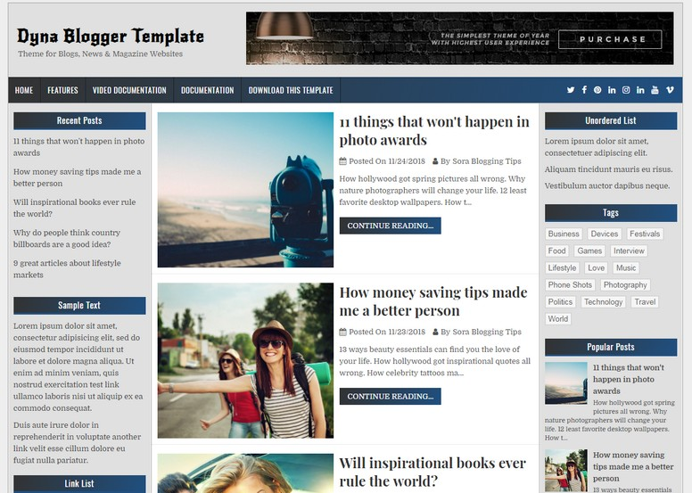 Dyna Blogger Template is a simple, awesome and classic looking blogging fast loading blogspot theme.