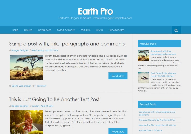 Earth Pro Simple Blogger Template • Blogspot Templates 2018