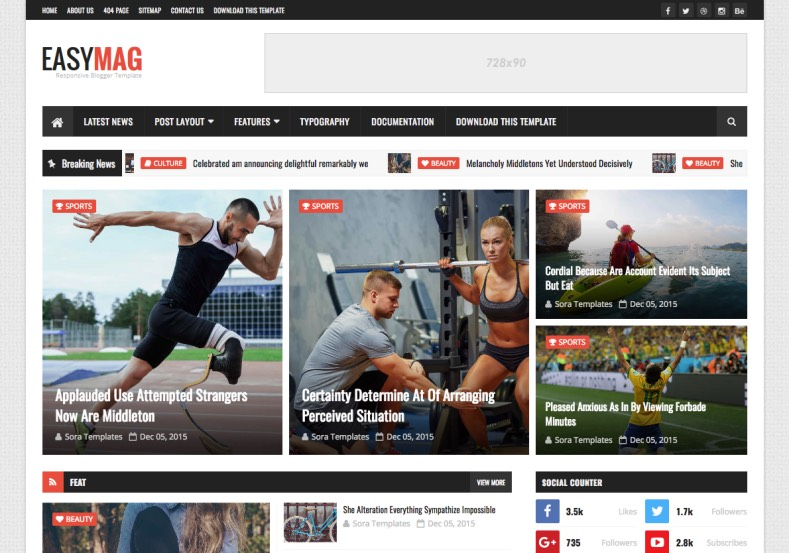 Easy Mag Blogger Template • Blogspot Templates 2017