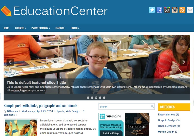 EducationCenter Blogger Template. 2015 Free blogger themes