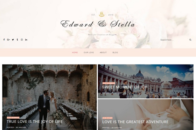 Edward Stella Blogger Template is one of the best responsive fast loading wedding blogspot theme with seo freindly coding