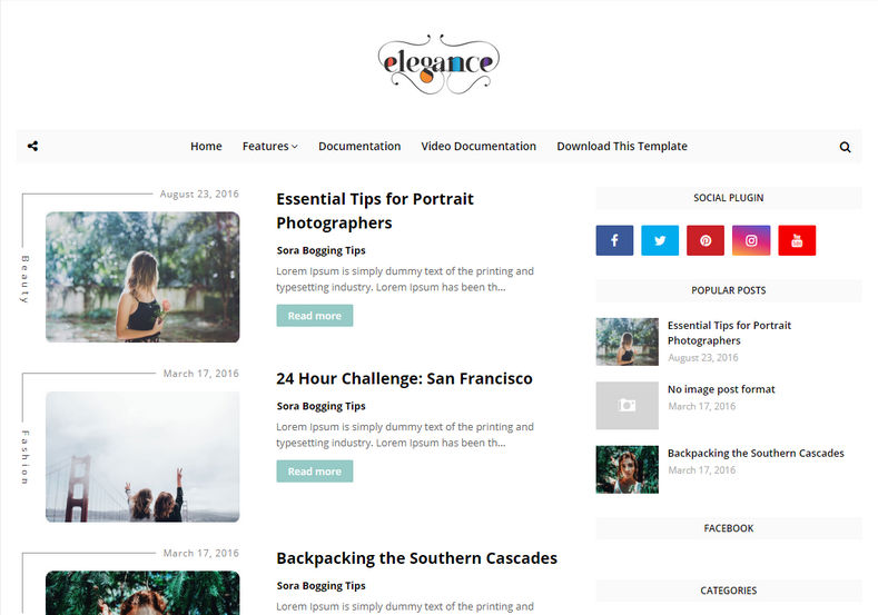 Elegance Blogger Template is a seo targetted Minimal, clean and super simple blogging blogger theme, with unique looking design and stylish post image concept.