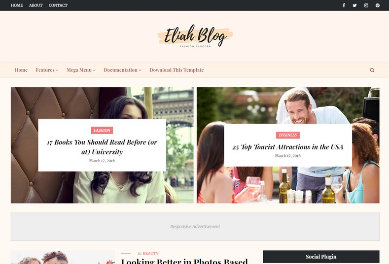 Eliah Blogger Template is a futuristic and amazingly designed blogspot theme with all the latest features and responsive layout