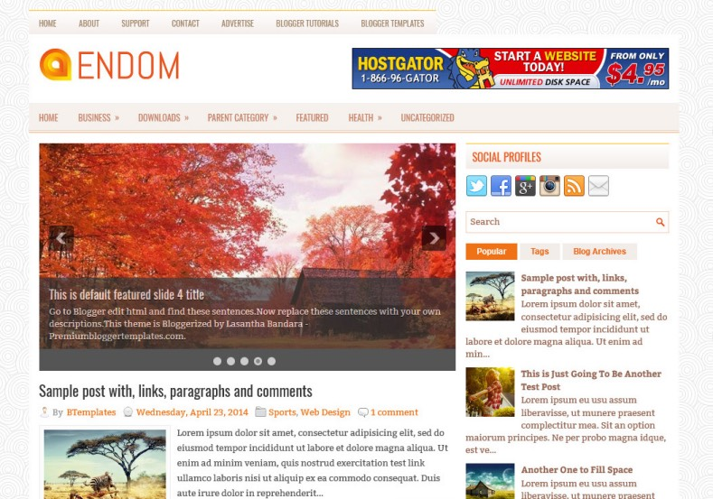 Endom Blogger Template. Blogger Themes. Best suitable for news blog templates. Ads ready blogspot templates help for add adsense ad code and easily showing adsence ads in your blog. Adapted from WordPress templates are converted from WordPress themes. It is help for take your rich. Blogger magazine template specially designed for magazine blogs. The writers can utilize this themes for take blog attractive to users. Elegant themes are more used themes in most of the blogs. Minimalist blog templates. Free premium blogger themes means, themes authors release two types of themes. One is premium another one is free. Premium templates given for cost but free themes given for no cost. You no need pay From California, USA. $10 USD, or $20 USD and more. But premium buyers get more facilities from authors But free buyers. If you run game or other animation oriented blogs, and you can try with Anime blog templates. Today the world is fashion world. So girls involve to the criteria for make their life fashionable. So we provide fashion blogger themes for make your fashionable. News is most important concept of the world. Download news blogger templates for publishing online news. You can make your blog as online shopping store. Get Online shopping store blogger template to sell your product. Navigation is most important to users find correct place. Download drop down menu, page navigation menu, breadcrumb navigation menu and vertical dropdown menu blogspot themes for free. Google Guide. Blogging tips and Tricks for bloggers. Google bloggers can get blogspot trick and tips for bloggers. Blog templates portfolio professional blogspot themes, You can store your life moments with your blogs with personal pages templates. Video and movie blogs owners get amazing movie blog themes for their blogs. Business templates download. We publish blogger themes for photographers. Photographers easily share photos via photography blog themes. St valentine Christmas Halloween templates. Download Slideshow slider templates for free. Under construction coming soon custom blogspot template. Best beautiful high quality Custom layouts Blog templates from templateism, SoraTemplates, templatetrackers, simple, cute free premium professional unique designs blog themes blogspot themes. Seo ready portfolio anime fashion movie movies health custom layouts best download blogspot themes simple cute free premium professional unique designs xml html code html5.