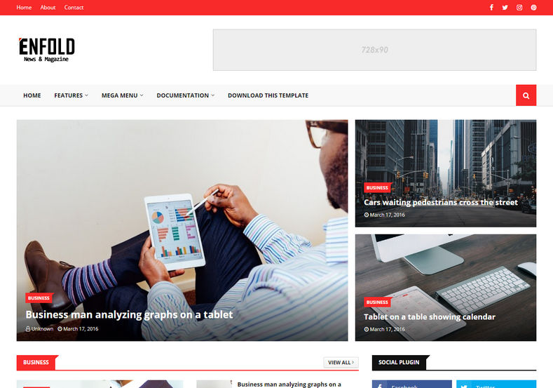 Enfold Blogger Template is a professionally designed fast loading responsive magazine blogspot theme, with latest features and seo friendly code