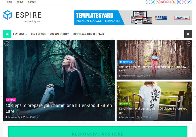 Espire Blogger Template is a clean and seo friendly responsive magazine blogger themes which is perfect for games, technology, education, films and destinations blogging