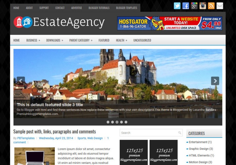 EstateAgency Blogger Template for real estate business