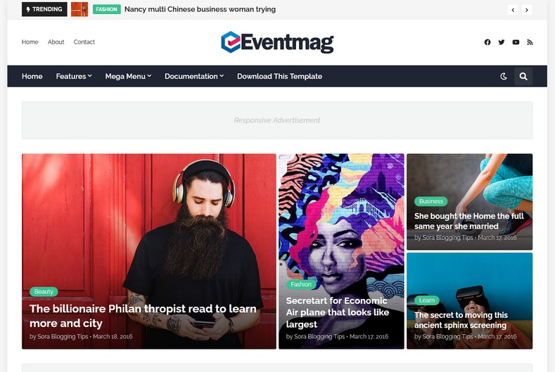 EventMag Blogger Template is an advance magazine blogspot theme with futuristic design and fast loading speed.