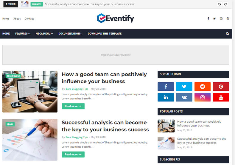 Eventify Blogger Template is a simple and fast loading blogspot theme with responsive and seo friendly coding layout.