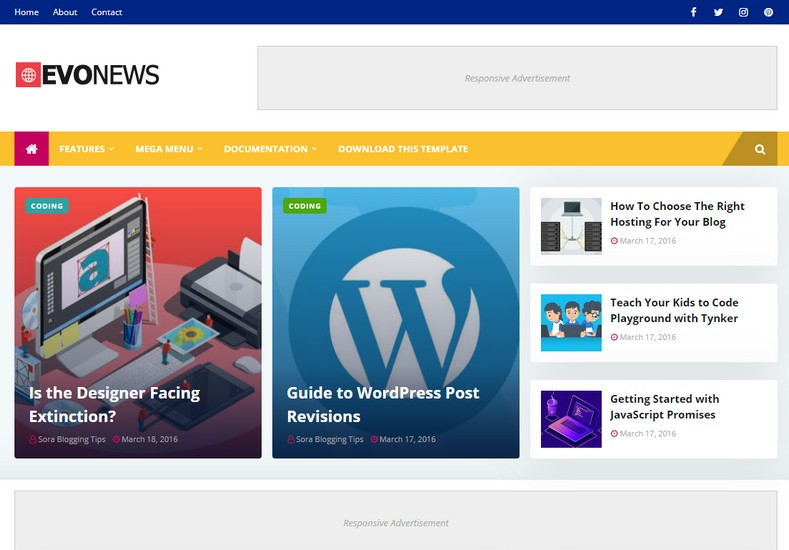 EvoNews Blogger Template is a feature enriched theme that helps in developing standard blogs then it must be your lucky day.