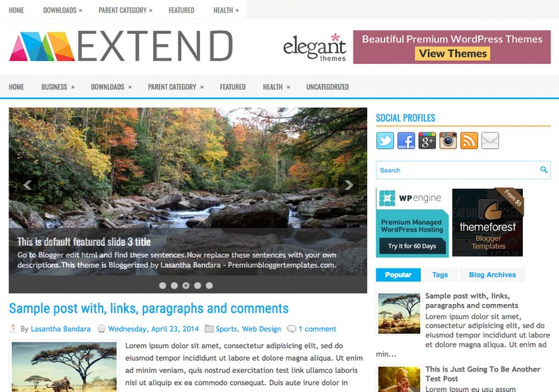 Extend Magazine Blogger Template. Blogger Themes. Free Blogspot templates for your blogger blog. Best suitable for news blog templates. Best Ads ready blogspot templates help for add adsense ad code and easily showing adsence ads in your blog. Adapted from WordPress templates are converted from WordPress themes. It is help for take your rich. Blogger magazine template specially designed for magazine blogs. The writers can utilize this themes for take blog attractive to users. Elegant themes are more used themes in most of the blogs. Use minimalist blog templates for rich look for your blog. Free premium blogger themes means, themes authors release two types of themes. One is premium another one is free. Premium templates given for cost but free themes given for no cost. You no need pay From California, USA. $10 USD, or $20 USD and more. But premium buyers get more facilities from authors But free buyers. If you run game or other animation oriented blogs, and you can try with Anime blog templates. Today the world is fashion world. So girls involve to the criteria for make their life fashionable. So we provide fashion blogger themes for make your fashionable. News is most important concept of the world. Download news blogger templates for publishing online news. You can make your blog as online shopping store. Get Online shopping store blogger template to sell your product. Navigation is most important to users find correct place. Download drop down menu, page navigation menu, breadcrumb navigation menu and vertical dropdown menu blogspot themes for free. Google Guide to blogging tips and tricks for bloggers. Google bloggers can get blogspot trick and tips for bloggers. Blog templates portfolio professional blogspot themes, You can store your life moments with your blogs with personal pages templates. Video and movie blogs owners get amazing movie blog themes for their blogs. Business templates download. We publish blogger themes for photographers. Photographers easily share photos via photography blog themes. St valentine Christmas Halloween templates. Download Slideshow slider templates for free. Under construction coming soon custom blogspot template. Best beautiful high quality Custom layouts Blog templates from templateism, SoraTemplates, templatetrackers, simple, cute free premium professional unique designs blog themes blogspot themes. Seo ready portfolio anime fashion movie movies health custom layouts best download blogspot themes simple cute free premium professional unique designs xml html code html5.