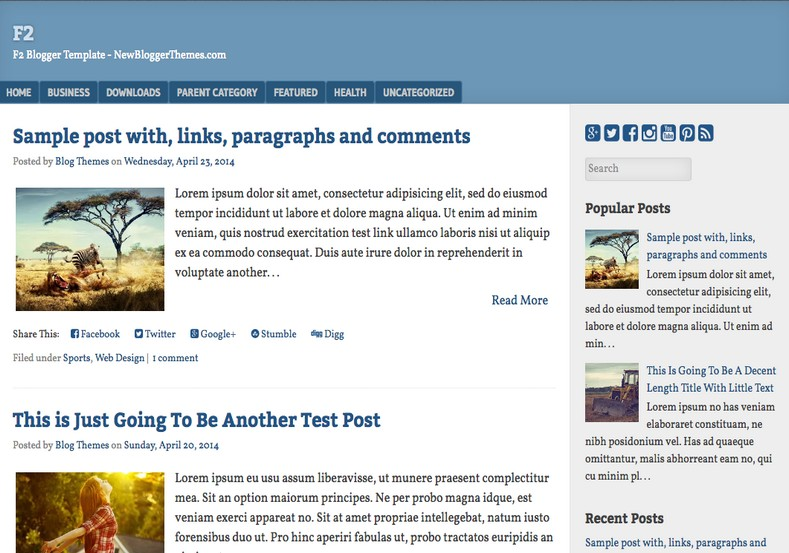 F2 Blogger Template. Blogger Themes. Free Blogspot templates for your blogger blog. Best suitable for news blog templates. Best Ads ready blogspot templates help for add adsense ad code and easily showing adsence ads in your blog. Adapted from WordPress templates are converted from WordPress themes. It is help for take your rich. Blogger magazine template specially designed for magazine blogs. The writers can utilize this themes for take blog attractive to users. Elegant themes are more used themes in most of the blogs. Use minimalist blog templates for rich look for your blog. Free premium blogger themes means, themes authors release two types of themes. One is premium another one is free. Premium templates given for cost but free themes given for no cost. You no need pay From California, USA. $10 USD, or $20 USD and more. But premium buyers get more facilities from authors But free buyers. If you run game or other animation oriented blogs, and you can try with Anime blog templates. Today the world is fashion world. So girls involve to the criteria for make their life fashionable. So we provide fashion blogger themes for make your fashionable. News is most important concept of the world. Download news blogger templates for publishing online news. You can make your blog as online shopping store. Get Online shopping store blogger template to sell your product. Navigation is most important to users find correct place. Download drop down menu, page navigation menu, breadcrumb navigation menu and vertical dropdown menu blogspot themes for free. Google Guide to blogging tips and tricks for bloggers. Google bloggers can get blogspot trick and tips for bloggers. Blog templates portfolio professional blogspot themes, You can store your life moments with your blogs with personal pages templates. Video and movie blogs owners get amazing movie blog themes for their blogs. Business templates download. We publish blogger themes for photographers. Photographers easily share photos via photography blog themes. St valentine Christmas Halloween templates. Download Slideshow slider templates for free. Under construction coming soon custom blogspot template. Best beautiful high quality Custom layouts Blog templates from templateism, SoraTemplates, templatetrackers, simple, cute free premium professional unique designs blog themes blogspot themes. Seo ready portfolio anime fashion movie movies health custom layouts best download blogspot themes simple cute free premium professional unique designs xml html code html5.