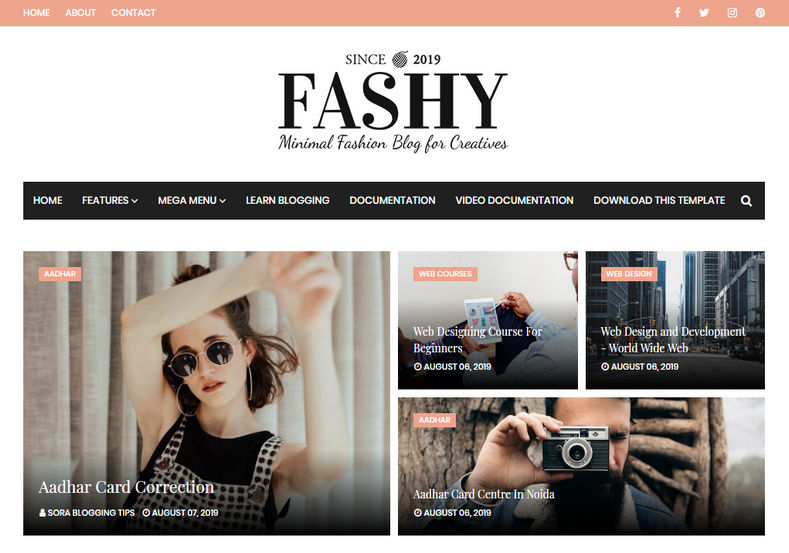 Fashy Blogger Template is a simple yet stylish and elegant fashion magazine blogging blogspot theme with latest features.