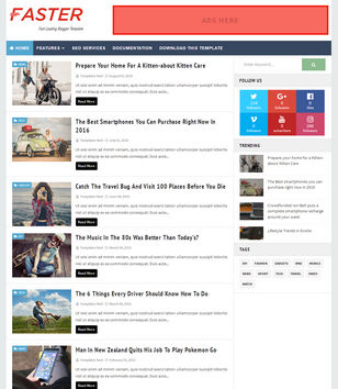 Faster Fast Loading Blogger Template • Blogspot Templates 2018