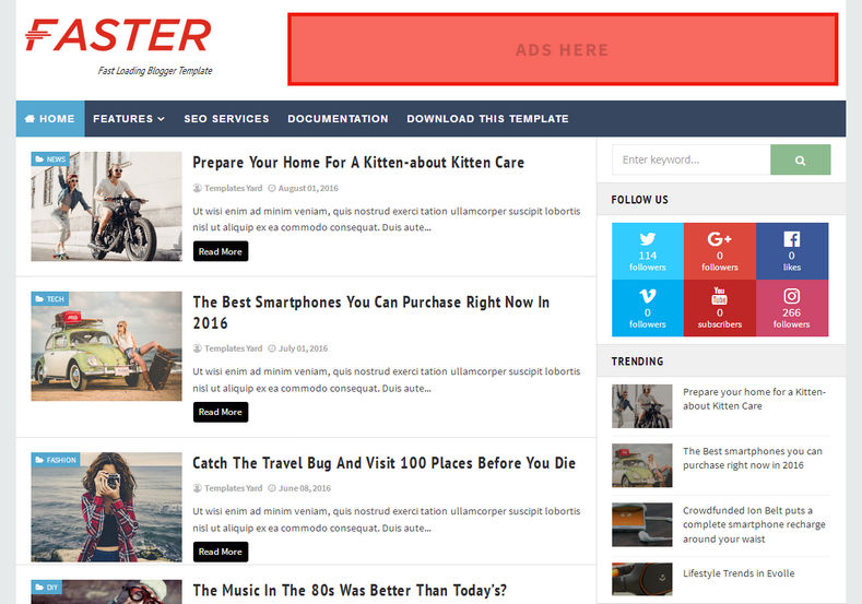 Faster Fast Loading Blogger Template is one of the best simple seo friendly and responsive blogger theme with very fast loading time and it is perfect for simple blogspot user who want to you simple blogspot theme with latest fetaures