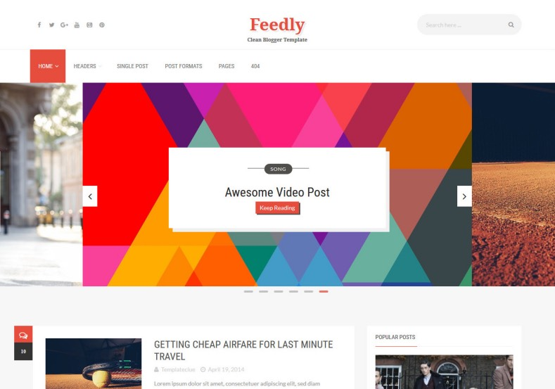 Feedly Blogger Template. Best and high quality free blogger templates 2016 for magazine and blogging blogger blog. Download best quality Feedly Blogger Template from gooyaabi templates.