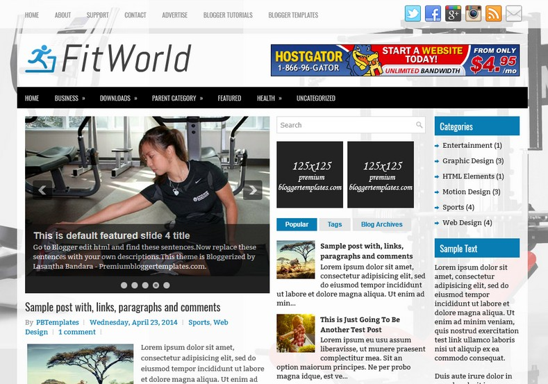FitWorld Blogger Template. Blogger Themes. Free Blogspot templates for your blogger blog. Best suitable for news blog templates. Ads ready blogspot templates help for add adsense ad code and easily showing adsence ads in your blog. Adapted from WordPress templates are converted from WordPress themes. It is help for take your rich. Blogger magazine template specially designed for magazine blogs. The writers can utilize this themes for take blog attractive to users. Elegant themes are more used themes in most of the blogs. Minimalist blog templates. Free premium blogger themes means, themes authors release two types of themes. One is premium another one is free. Premium templates given for cost but free themes given for no cost. You no need pay From California, USA. $10 USD, or $20 USD and more. But premium buyers get more facilities from authors But free buyers. If you run game or other animation oriented blogs, and you can try with Anime blog templates. Today the world is fashion world. So girls involve to the criteria for make their life fashionable. So we provide fashion blogger themes for make your fashionable. News is most important concept of the world. Download news blogger templates for publishing online news. You can make your blog as online shopping store. Get Online shopping store blogger template to sell your product. Navigation is most important to users find correct place. Download drop down menu, page navigation menu, breadcrumb navigation menu and vertical dropdown menu blogspot themes for free. Google Guide. Blogging tips and Tricks for bloggers. Google bloggers can get blogspot trick and tips for bloggers. Blog templates portfolio professional blogspot themes, You can store your life moments with your blogs with personal pages templates. Video and movie blogs owners get amazing movie blog themes for their blogs.  Business templates download. We publish blogger themes for photographers.  Photographers easily share photos via photography blog themes. St valentine Christmas Halloween templates. Download Slideshow slider templates for free.  Under construction coming soon custom blogspot template. Best beautiful high quality Custom layouts Blog templates from templateism, soratemplates, templatetrackers, simple, cute free premium professional unique designs blog themes blogspot themes. Seo ready portfolio anime fashion movie movies health custom layouts best download blogspot themes simple cute free premium professional unique designs xml html code html5.