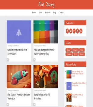 Flat Diary Premium Responsive Blogger Template 2014 Free Download
