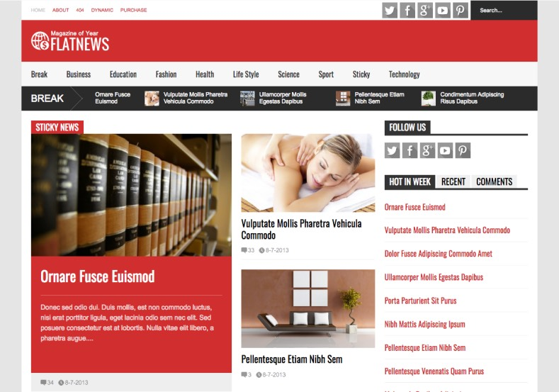 Flat News Blogger Template 2015. Buy premium templates