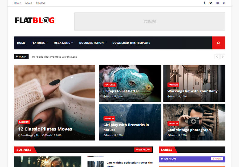 FlatBlog Blogger Template is a futuristic and amazingly seo coded design with news magazine blogger theme and simple white layout