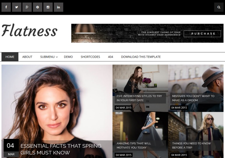 Flatness Blogger Template. Fashion and simple blogger templates for blogger. Download free Flatness Blogger Template.