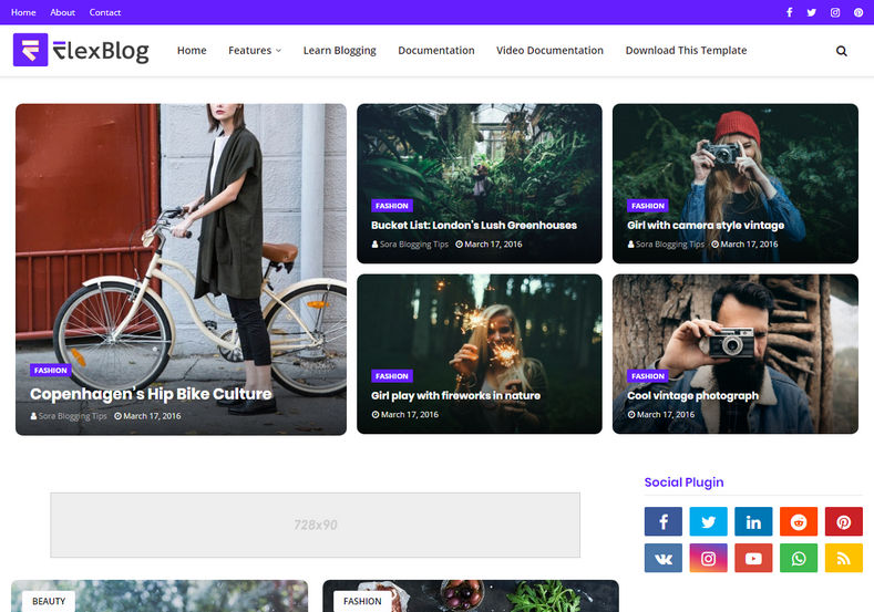FlexBlog Blogger Template is an elegantly designed super stylish fashion fast loading magazine blogging blogger theme.