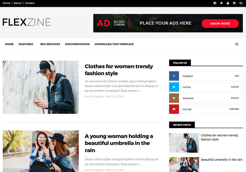 FlexZine Blogger Template is a simple and stylish responsive free blogger theme for anybody looking to create a modern and clean design