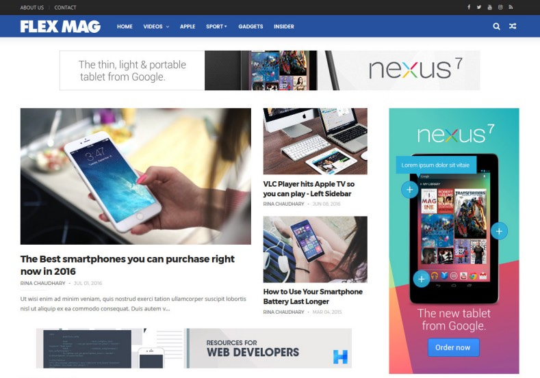 Flexmag Blogger Template. Best free blogger templates 2017 for blogger and blogspot users. Blogspot users can renovate their nlogger blog with free and new template named Flexmag Blogger Template.
