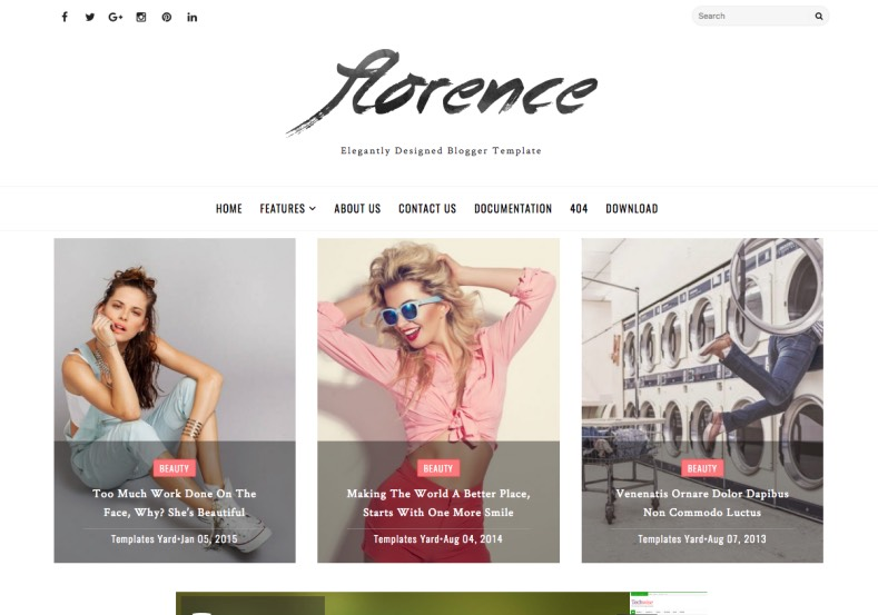Florence Blogger Template. Best quality blogger templates 2017 free download for all purpose of blogger and blogspot blogs. Every one like your blog with Florence Blogger Template.