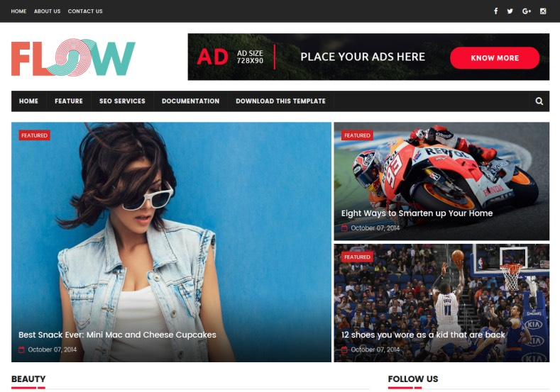 Flow SportsMag Blogger Template Tech and sports magazine Blogger Blogspot Themes 2018 Flow SportsMag Blogger Template