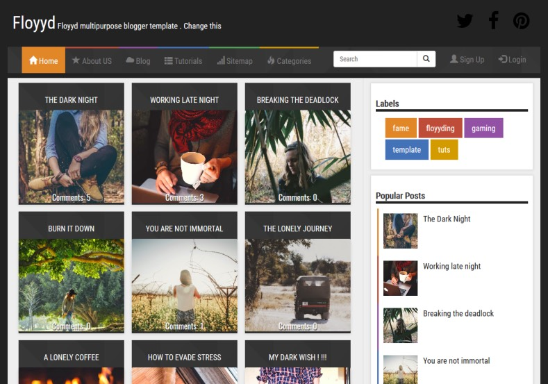 Floyyd Responsive Blogger Template. Blogger Themes. Free Blogspot templates for your blogger blog. Best suitable for news blog templates. Best Ads ready blogspot templates help for add adsense ad code and easily showing adsence ads in your blog. Adapted from WordPress templates are converted from WordPress themes. It is help for take your rich. Blogger magazine template specially designed for magazine blogs. The writers can utilize this themes for take blog attractive to users. Elegant themes are more used themes in most of the blogs. Use minimalist blog templates for rich look for your blog. Free premium blogger themes means, themes authors release two types of themes. One is premium another one is free. Premium templates given for cost but free themes given for no cost. You no need pay From California, USA. $10 USD, or $20 USD and more. But premium buyers get more facilities from authors But free buyers. If you run game or other animation oriented blogs, and you can try with Anime blog templates. Today the world is fashion world. So girls involve to the criteria for make their life fashionable. So we provide fashion blogger themes for make your fashionable. News is most important concept of the world. Download news blogger templates for publishing online news. You can make your blog as online shopping store. Get Online shopping store blogger template to sell your product. Navigation is most important to users find correct place. Download drop down menu, page navigation menu, breadcrumb navigation menu and vertical dropdown menu blogspot themes for free. Google Guide to blogging tips and tricks for bloggers. Google bloggers can get blogspot trick and tips for bloggers. Blog templates portfolio professional blogspot themes, You can store your life moments with your blogs with personal pages templates. Video and movie blogs owners get amazing movie blog themes for their blogs. Business templates download. We publish blogger themes for photographers. Photographers easily share photos via photography blog themes. St valentine Christmas Halloween templates. Download Slideshow slider templates for free. Under construction coming soon custom blogspot template. Best beautiful high quality Custom layouts Blog templates from templateism, soratemplates, templatetrackers, simple, cute free premium professional unique designs blog themes blogspot themes. Seo ready portfolio anime fashion movie movies health custom layouts best download blogspot themes simple cute free premium professional unique designs xml html code html5.