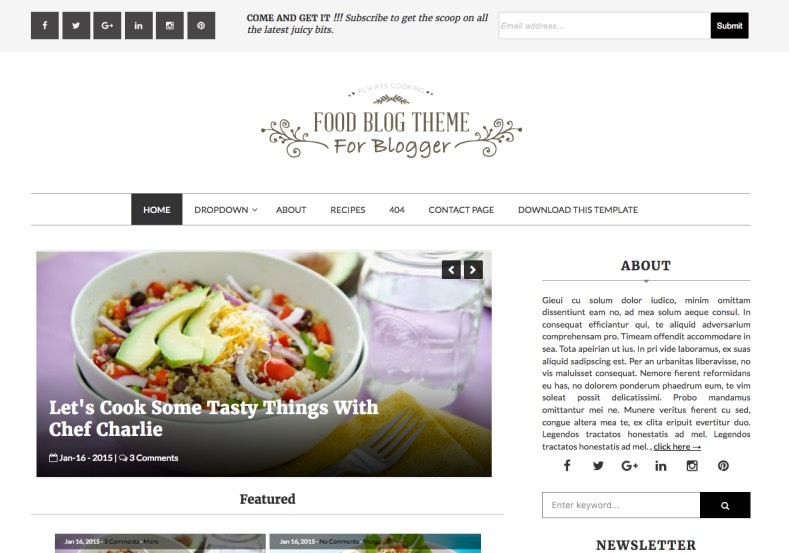 Food blog blogger template blogspot templates 2018 for Free blogger templates