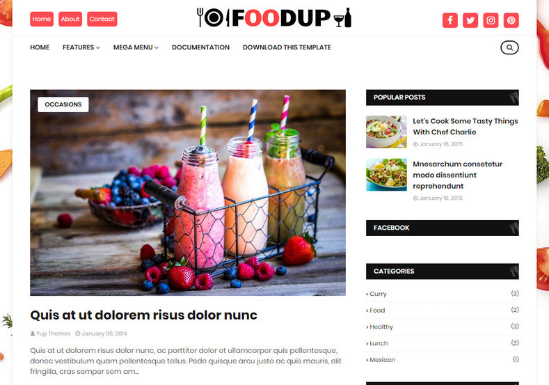 FoodUp Blogger Template is an amazingly designed and beautifully crafted food and recipe blogging blogger theme.