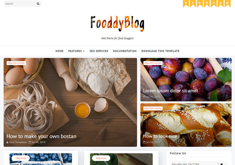 Fooddy Blogger Template is a perfect combination of responsive magazine theme for food related bloggers and very suitable for for recipe, review, restaurants, hotel, institute blogs