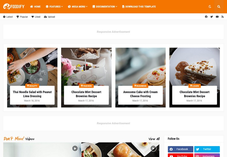 Foodify Blogger Template is an amazing blogspot template with that helps in creating your own websites within few minutes.