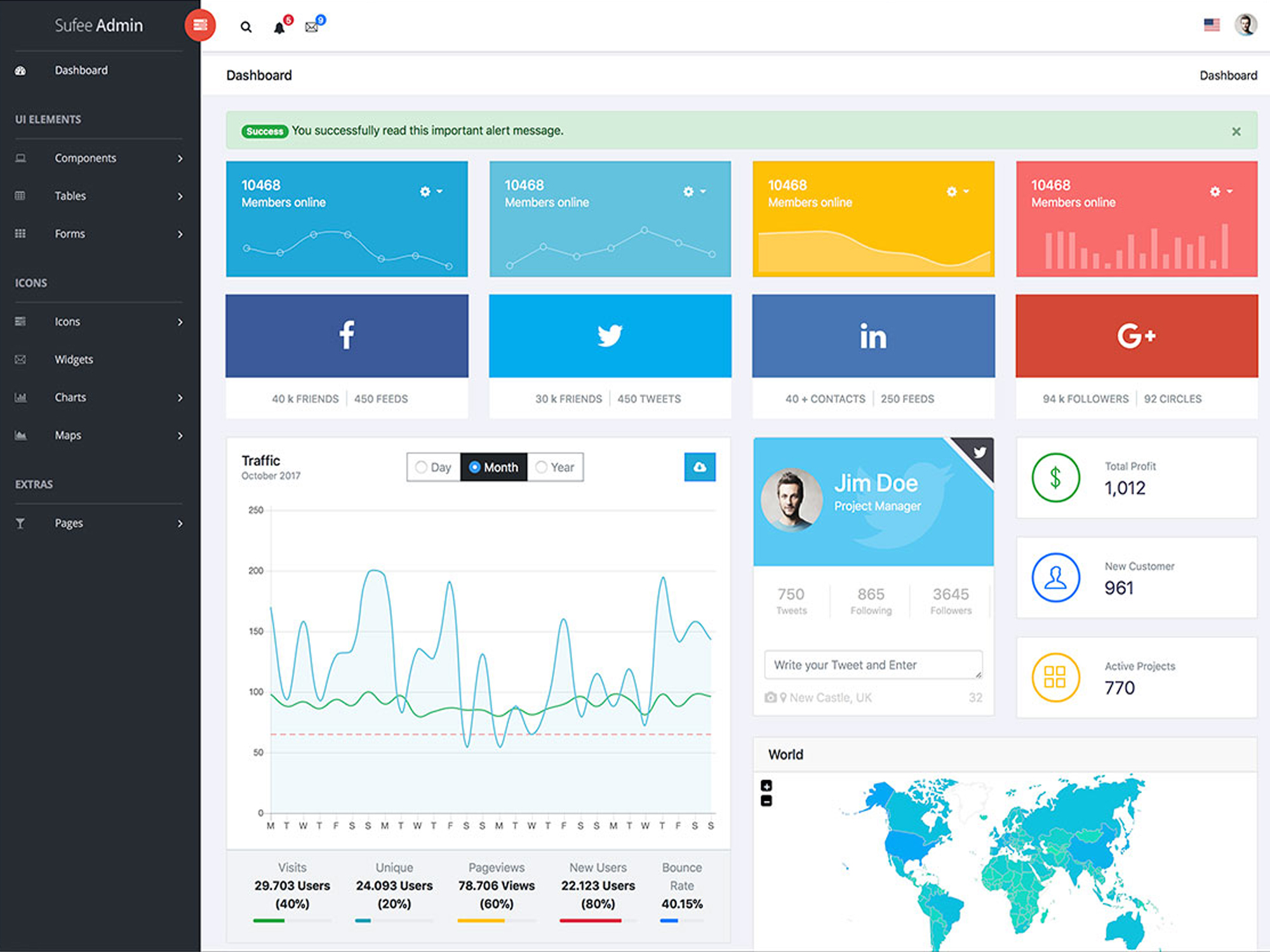 Responsive Html5 Templates Admin Dashboard