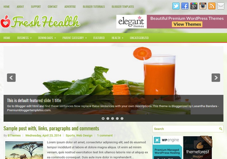 Freshhealth 2 columns blogger template free graphics for Create your own wordpress theme from an html template