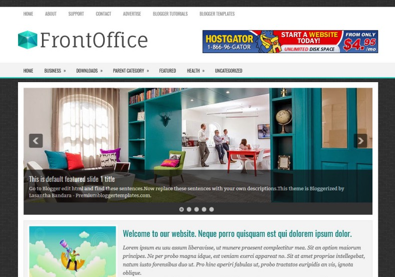 FrontOffice Blogger Template for business
