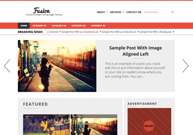 fusion-blogger-template. Red colored background blogger themes with post thumnails and drop down menu. Free blogger templates 2017 for your blogging blog. fusion-blogger-template.