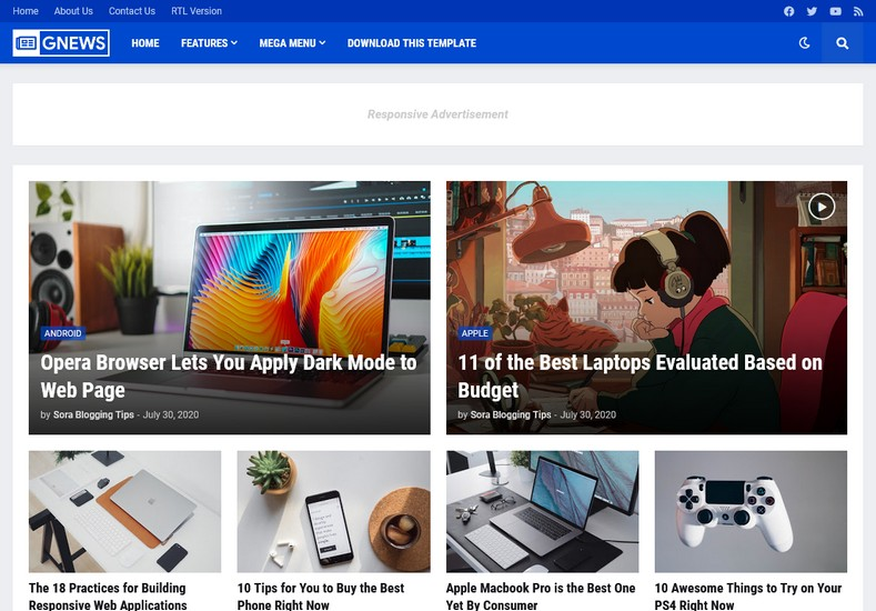 GNews Blogger Template s consider as the most advance one-page blogging theme. It is clean, feature enriched and provides fast loading speed.