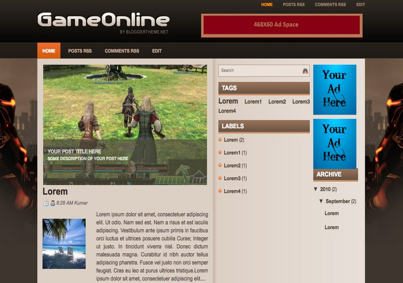 Game Online Blogger Template 2014 Free Download