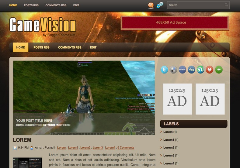 Game Vision Blogger Template Sepuluh Garis